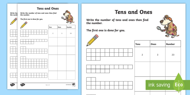 tens and units worksheet  worksheet  tens units ones maths tens and units worksheet  worksheet  tens units ones maths  partitioning