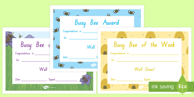 Busy Bee Award Certificates