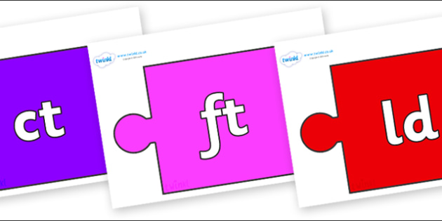 Final Letter Blends on Jigsaw Pieces - Final Letters, final letter, letter blend, letter blends, consonant, consonants, digraph, trigraph, literacy, alphabet, letters, foundation stage literacy