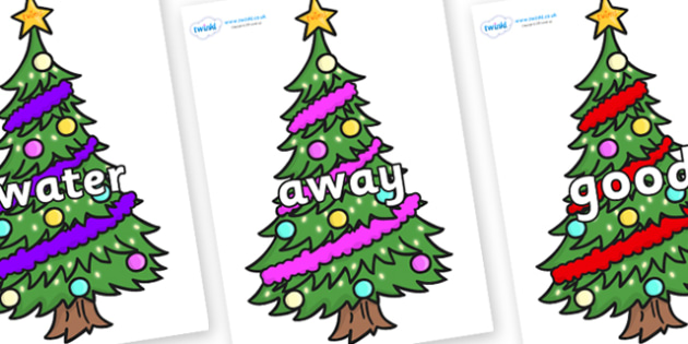 Next 200 Common Words on Christmas Trees (Decorated) - Next 200 Common Words on  - DfES Letters and Sounds, Letters and Sounds, Letters and sounds words, Common words, 200 common words