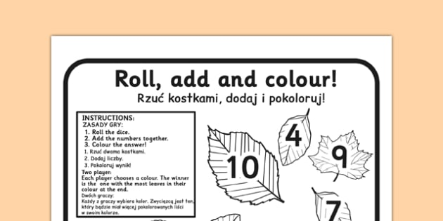 Leaf Roll and Colour Dice Addition Activity Polish Translation - polish, leaf, roll, colour, dice, addition