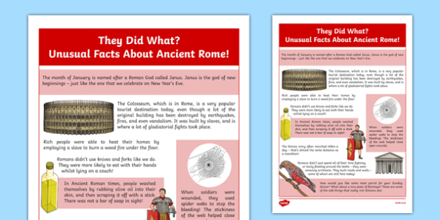 Ancient Rome Some Unusual Facts CfE First Level - Social studies, history, past, fact cards, Romans