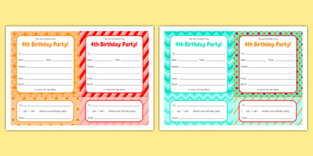 4th Birthday Party Invitations - 4th birthday party, 4th birthday, birthday party, invitations