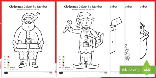 EYFS Christmas Colour by Numbers Activities - (teacher made)