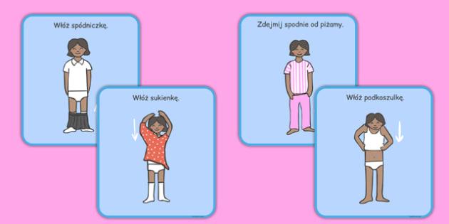 Karty Ubieranie się (dziewczynka) po polsku - przedszkole