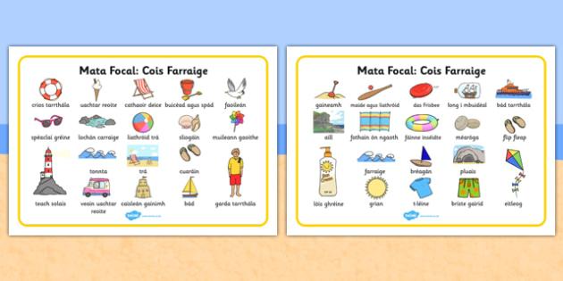 Seaside Word Mat Gaeilge - gaeilge, Writing aid, Under the sea, sea, seaside, topic, water, tide, waves, sand, beach, sea, sun, holiday, coast