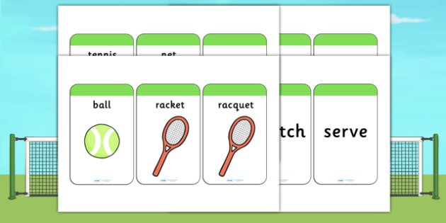 Wimbledon Themed Flash Cards - sport, sports, tennis, visual aid