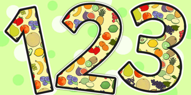 Fruit Themed A4 Display Numbers - fruit, a4, display, numbers