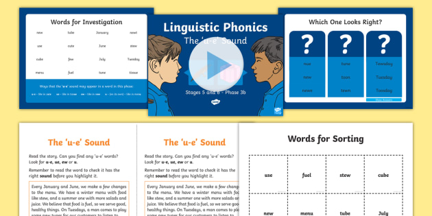 Northern Ireland Linguistic Phonics Stage 5 and 6 Phase 3b, 'u-e' Sound PowerPoint  - NI, sound search, word sort, investigation