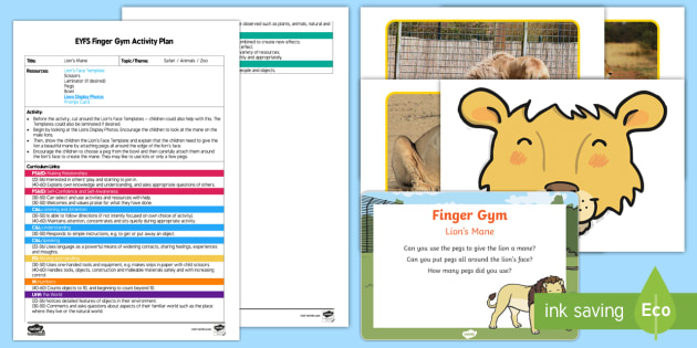 EYFS Lion's Mane Finger Gym Plan and Resource Pack