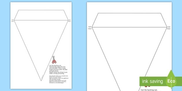 blank bunting template english german classroom display eal