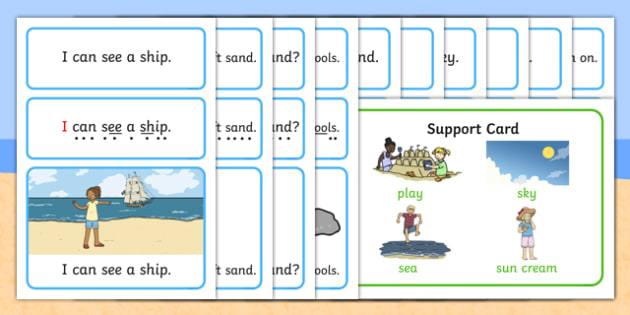 At the Seaside Simple Sentence Cards