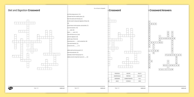 Ks3 diet and digestion crossword ccuart Choice Image