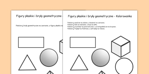 Kolorowanka figury płaskie i bryły geometryczne po polsku