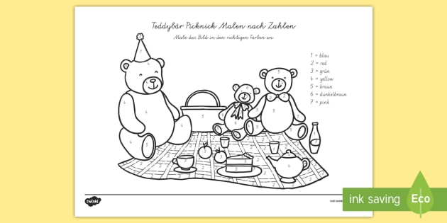 Teddybär Picknick Malen nach Zahlen - Teddybär Picknick Malen