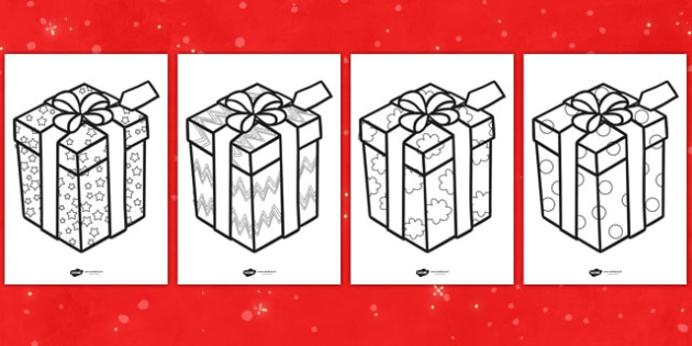 Patterned Presents Colouring Sheets - patterned presents, colouring sheets, christmas colouring sheets, present colouring sheets, christmas themed