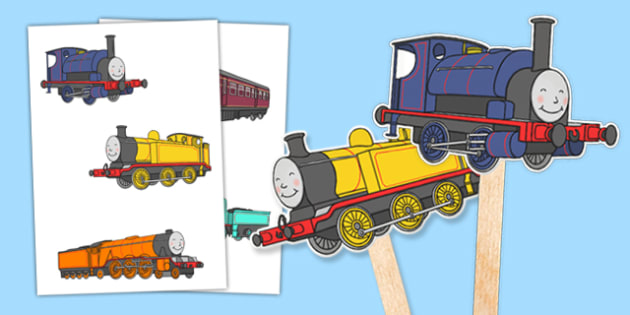Talking Steam Train Themed Stick Puppets - thomas the tank engine, talking steam train, stick puppets