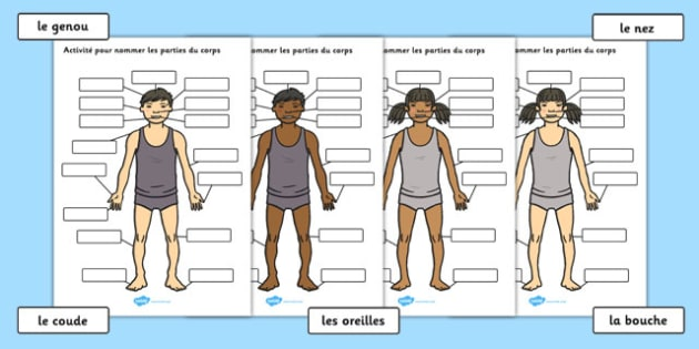 Body Parts Labelling Activity French - french, france, francais, body parts, labelling, activity