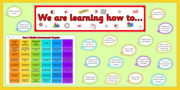 Year 1 Maths Target Display Pack - maths, numeracy, targets