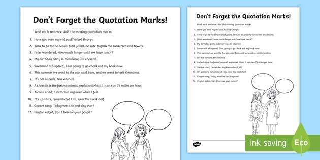 Don t For the Quotation Marks Activity teacher made