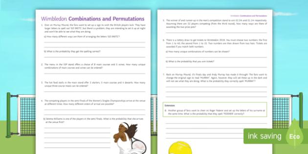 New Maths Wimbledon Combinations And Permutations Activity Sheet