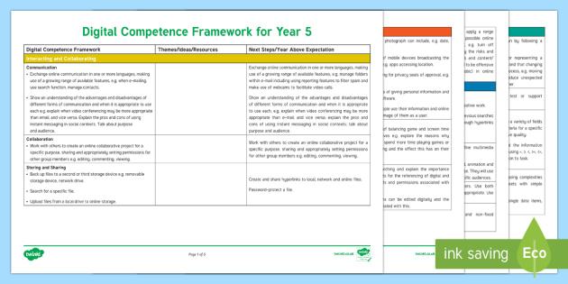 Digital Competence Framework Year 5 Planning Template