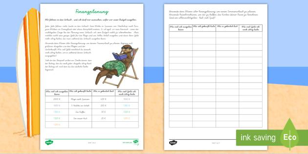 Finanzplanung für einen Sommerurlaub Arbeitsblätter