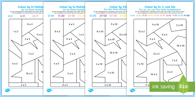 Colour By 2s 5s 10s Multiplication Worksheet Activity Sheet
