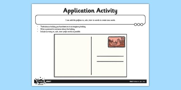 Prefixes re, sub, inter Application Worksheet / Activity Sheet - GPS, grammar, spelling, punctuation, root word, worksheet