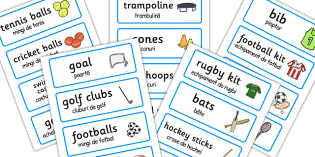 Sports Shop Role Play Word Cards Romanian Translation
