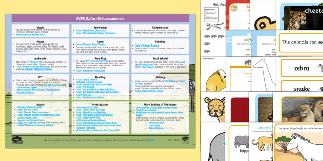 EYFS Safari Enhancement Ideas and Resources Pack - planning, EYFS, Early Years Planning, continuous provision, Safari, Africa, African animals, elephant, lion, c