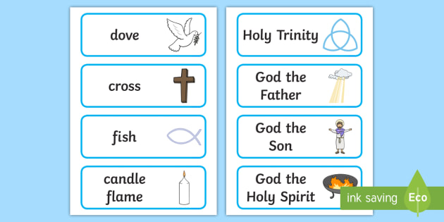 Christian Signs and Symbols Word Cards - christianity, words