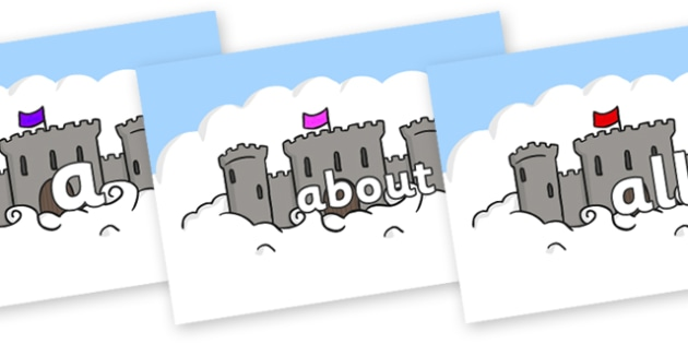 100 High Frequency Words on Castles - High frequency words, hfw, DfES Letters and Sounds, Letters and Sounds, display words