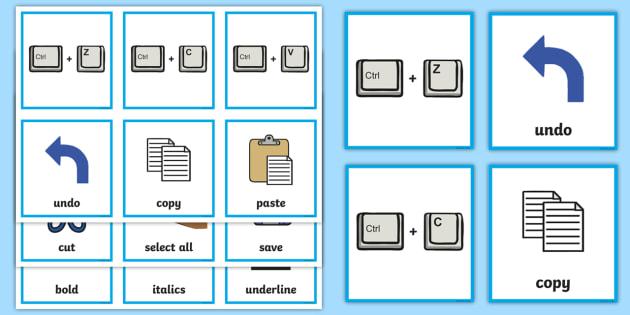 Computing Keyboard Shortcuts Matching Cards - computing, matching, cards