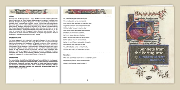 GCSE Poetry 'Sonnets from the Portuguese' Study Booklet