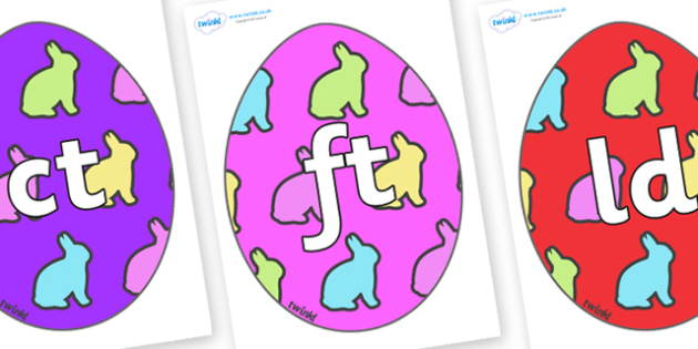 Final Letter Blends on Easter Eggs (Rabbit) - Final Letters, final letter, letter blend, letter blends, consonant, consonants, digraph, trigraph, literacy, alphabet, letters, foundation stage literacy