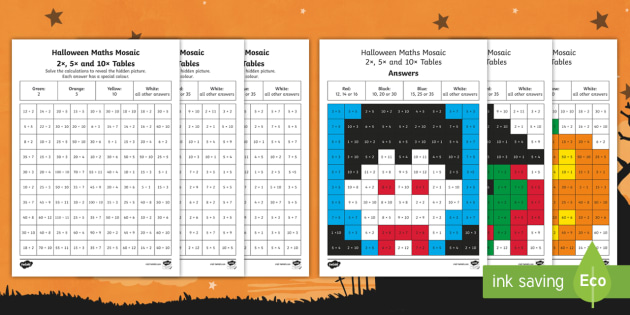 NEW * KS1 2 5 and 10 Multiplication and Division Facts Halloween Maths