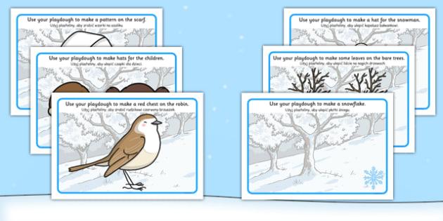 Winter Playdough Mats Polish Translation - polish, winter, playdough mats, playdough, mats
