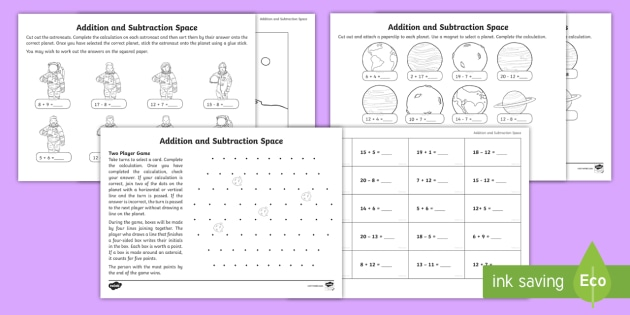 new ks1 addition and subtraction facts within 20 space themed activity. Black Bedroom Furniture Sets. Home Design Ideas