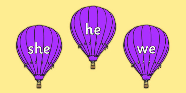 Phase 3 Tricky Words on Purple Hot Air Balloons - phase, 3, tricky, words, purple, hot, air, balloon, phonics, letters, sounds