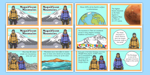 Magnificent Mountains Fact Cards - magnificent, mountains, fact cards