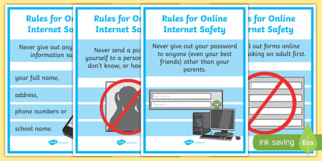 picture relating to Free Printable Internet Safety Worksheets known as E-Security Clearly show Posters - Maintaining Little ones Safe and sound On the net