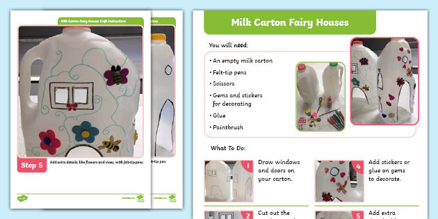 * NEW * Milk Carton Fairy Houses