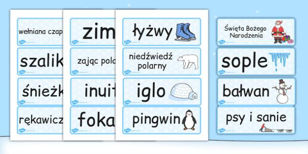 Fiszki z zimowym slownictwem po polsku - szkola, do pobrania , Polish