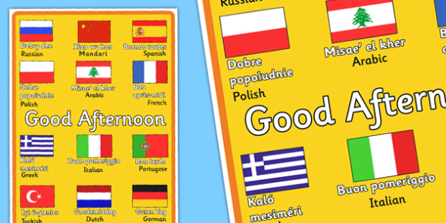 Good Afternoon Mixed Languages Display Poster A4 - good afternoon, mixed, languages, display poster, display, poster