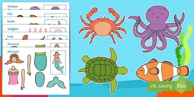 Under the Sea Split Pin Characters - split pin, pin, under the sea, sea, seaside, water, tide, fish, sea creatures, shark, whale, marine, dolphin, starfish, waves, sand, making a split pin, moving, puppet, activity, creativity