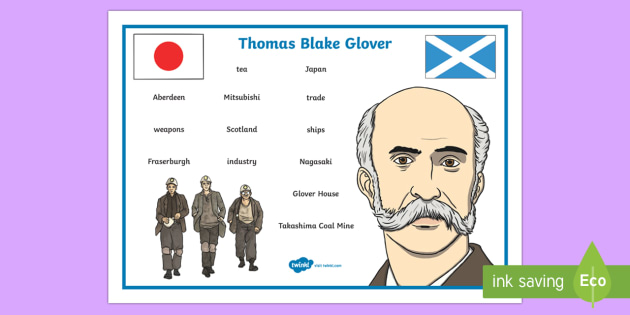 Scottish Significant Individuals Thomas Blake Glover Word Mat-Scottish - CfE, Scottish Significant Individuals, famous Scots, key figures, history, people in past societies,