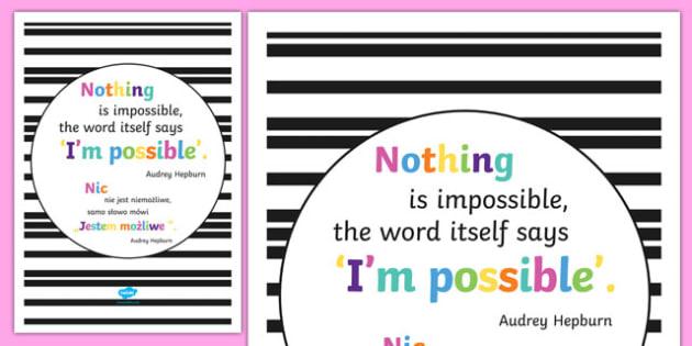 Nothing Is Impossible Motivational Poster Polish Translation - polish, motivation, display