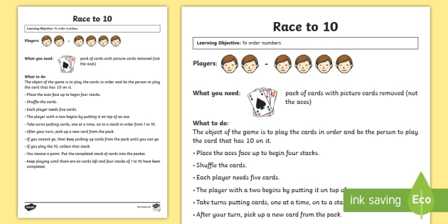 Race to 10 Maths Game - Maths Games, numbers to 10, ordering, counting, card game