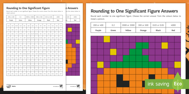 Maths Halloween: Rounding to One Significant Figure Mosaic Worksheet